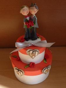 Geldgeschenkverpackung zweistöckige Torte mit Brautpaar und Verzierungen - Männer