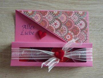 Teelichtgeschenkset mit vier Teelichtern - rosa-rot - Text: ALLES LIEBE - Handarbeit kaufen