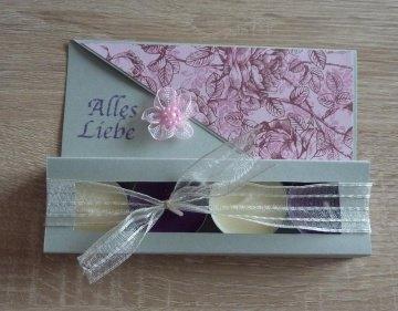 Teelichtgeschenkset mit vier Teelichtern - rosa-grau - Text: ALLES LIEBE