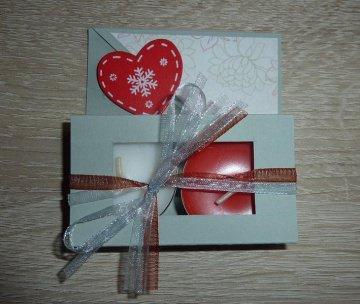 Teelichtgeschenkset mit zwei Teelichtern - grau-rot - Handarbeit kaufen