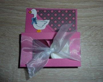 Teelichtgeschenkset mit zwei Teelichtern - pink-weiß - Handarbeit kaufen