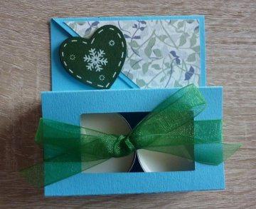 Teelichtgeschenkset mit zwei Teelichtern - türkis-grün - Handarbeit kaufen