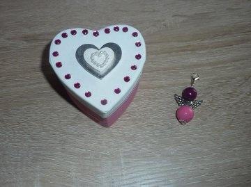 Anhänger Engel Geschenkset mit Herzverpackung rosa-weiß - Handarbeit kaufen