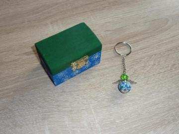 'Schlüsselanhänger Engel Geschenkset Truhe grün-blau
