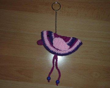 gehäkelter Taschenanhänger - Vogel - rosa-lila-pink