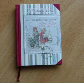 Handgebundenes Notizbuch - Weihnachtsmotiv - Kinder mit Schlitten - Handarbeit kaufen