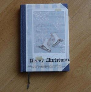 Handgebundenes Notizbuch - Weihnachtsmotiv - Schlittschuhe