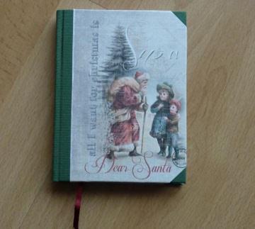 Handgebundenes Notizbuch - Weihnachtsmotiv - Kinder mit Nikolaus - Handarbeit kaufen