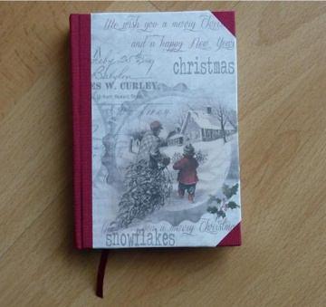 Handgebundenes Notizbuch - Weihnachtsmotiv - Schneelandschaft