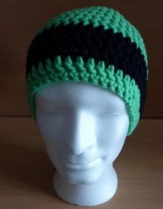 gehäkelte Mütze - neongrün-schwarz - Handarbeit kaufen