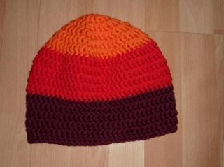 gehäkelte Mütze - gestreift - orange,rot
