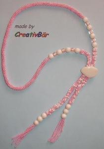 gehäkelt/gefädelte Kette - rosa-weiß - Handarbeit kaufen