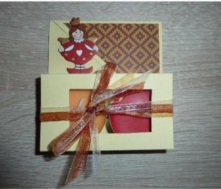 Teelichtgeschenkset mit zwei Teelichtern - beige-braun-rot mit Engelchen