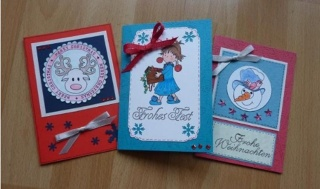 drei liebevoll gestaltete Weihnachtskarten - Handarbeit kaufen