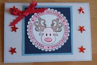 Weihnachtskarte Rentier mit Sternen - TEXT: Merry Christmas
