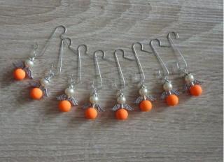 Acht Weihnachtsbaumanhänger Engel -NEON-orange
