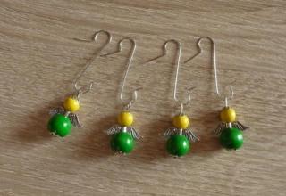 vier Weihnachtsbaumanhänger Engel - gelb-grün - Handarbeit kaufen