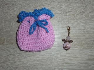 Geschenkset Engelchen mit gehäkeltem Täschchen - rosa-blau