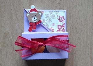 Teelichtgeschenkset mit zwei Teelichtern - lila-rot mit Bär - Handarbeit kaufen