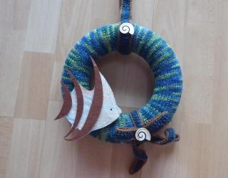 Türkranz mit Fisch - blau-grün-braun - Handarbeit kaufen