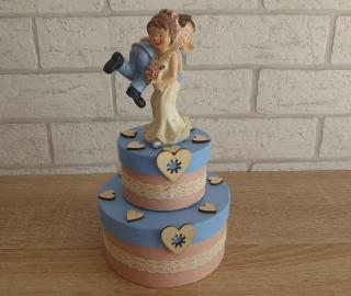 Geldgeschenkverpackung zweistöckige Torte mit Brautpaar und Verzierungen beige-blau