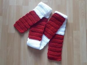 gehäkelter Schal - rot-weiß - Handarbeit kaufen