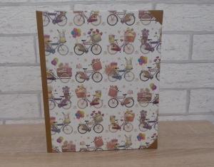 Handgefertigtes Ringbuch für DIN A5 aus Pappe, Papier und Buchleinen - Motiv: Fahrrad