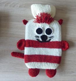 Gestrickter Wärmflaschenbezug - Katze - wollweiß-rot -  inkl.Wärmflasche