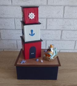 Handgefertigte Geschenkverpackung / Schachtel aus Pappe, Papier und Buchleinen - Leuchtturm - Strandurlaub - Handarbeit kaufen