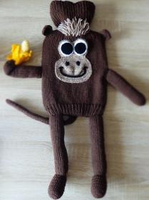 Gestrickter Wärmflaschenbezug - Affe mit Banane- inkl. Wärmflasche
