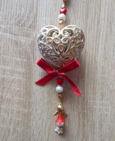 Wand-/Türdeko mit Herz und Engelchen - rot-gold-weiß - Handarbeit kaufen