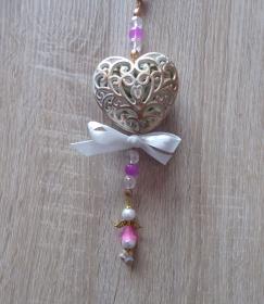 Wand-/Türdeko mit Herz und Engelchen - pink-weiß-gold-farblos - Handarbeit kaufen
