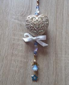 Wand-/Türdeko mit Herz und Engelchen - blau-gold-weiß-farblos