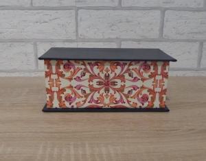 Handgefertigte Geschenkverpackung aus Pappe, Papier und Buchleinen - blau-pink-weiß-gold - Handarbeit kaufen