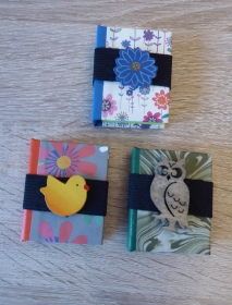 Drei hangefertigte Haftnotizzettelbüchlein aus Papier und Buchleinen - diverse Motive (Eule/Blume/Vogel) - Handarbeit kaufen