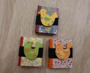 Drei hangefertigte Haftnotizzettelbüchlein aus Papier und Buchleinen - Vögel - Handarbeit kaufen