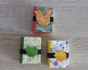 Drei hangefertigte Haftnotizzettelbüchlein aus Papier und Buchleinen - Vögel - bunt - Handarbeit kaufen