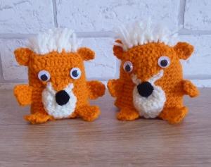 2 gehäkelte Eierwärmer - Füchse - orange-wollweiß - Handarbeit kaufen