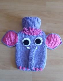 Gestrickter Wärmflaschenbezug inkl. Wärmflasche (klein) - Elefant - lila-pink