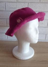 Gehäkelter Hut mit Krempe und Häkelblume (pink-rosa) Kopfumfang: ca. 54 cm - Handarbeit kaufen