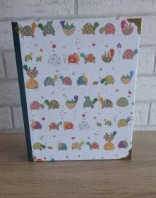 Handgefertigtes Ringbuch für DIN A5 aus Pappe, Papier und Buchleinen - Motiv: Schildkröten - Handarbeit kaufen