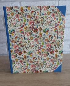 Handgefertigtes Ringbuch für DIN A5 aus Pappe, Papier und Buchleinen - bunt