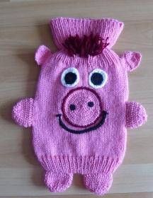 Gestrickter Wärmflaschenbezug - Schwein (rosa-rot)