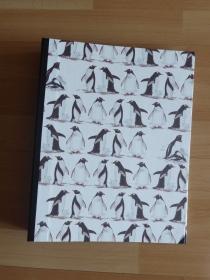 Handgefertigtes Ringbuch für DIN A4 aus Pappe, Papier und Buchleinen - Pinguine - Handarbeit kaufen