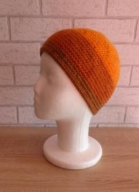 gehäkelte Mütze - gestreift - Orange-Brauntöne - Handarbeit kaufen
