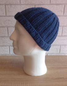 gestrickte Mütze - blau - Handarbeit kaufen