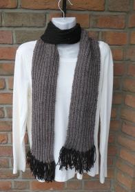 gestrickter Schal mit Franseln (53% Acryl, 47% Wolle) - braun (Länge 186 cm) - Handarbeit kaufen