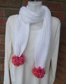 gestrickter Schal mit Bommel - weiß-rosa-rot (Länge 156 cm) - Handarbeit kaufen
