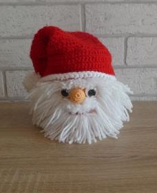 Umhäkelte Blechdose zur Aufbewahrung von vielen Dingen - Weihnachtsmann mit Kulleraugen - Handarbeit kaufen