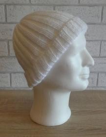 gestrickte Mütze (100% Polyacryl) - weiß - Handarbeit kaufen